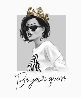 Slogan de tipografia com garota na ilustração de palhaço e óculos de sol