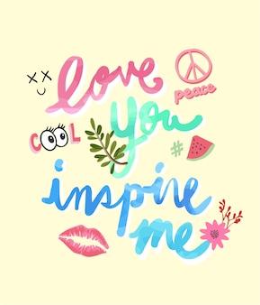 Slogan de tipografia com ícones bonitos