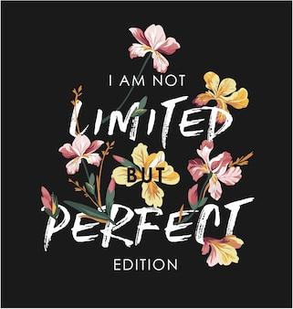 Slogan de tipografia com ilustração de flor