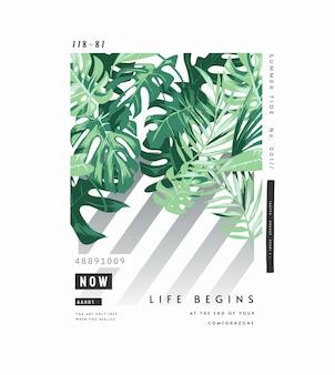 Slogan de tipografia com ilustração de folhas de palmeira tropical em fundo listrado