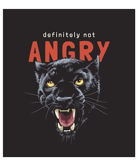 Slogan de tipografia com ilustração de pantera negra sobre fundo vermelho traço