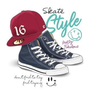 Slogan de tipografia com ilustração de sapatilha e boné