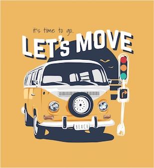 Slogan de tipografia com ilustração de van amarela