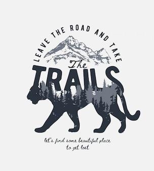 Slogan de tipografia com montanha alpina e floresta de pinheiros na ilustração da sombra do tigre