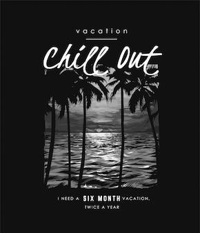 Slogan de tipografia com sombra de árvore de palma no pôr do sol e oceano