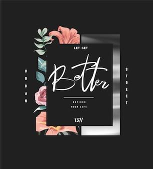 Slogan de tipografia em moldura de flor e moldura impressa em folha de prata