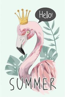 Slogan de verão com flamingo e coroa