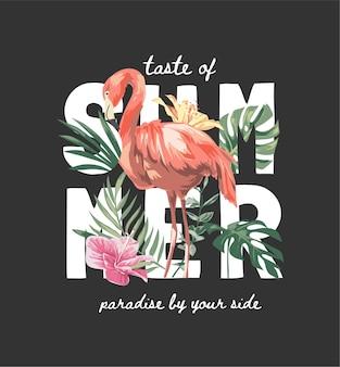 Slogan de verão com flamingo em folha de palmeira exótica