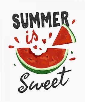 Slogan de verão com ilustração de melancia mordida