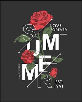 Slogan de verão com ilustração de rosas em fundo preto