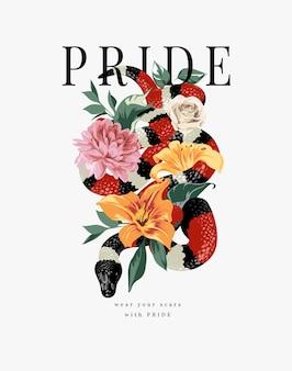 Slogan do orgulho com uma ilustração de flores coloridas envolvendo cobra-rei