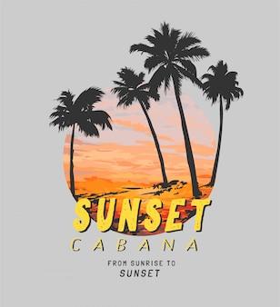 Slogan do pôr do sol na praia, pôr do sol e ilustração da silhueta da palmeira em círculo