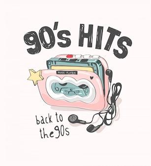 Slogan dos hits dos anos 90 com ilustração colorida do toca-fitas vintage