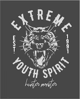 Slogan extremo com ilustração gráfica de cabeça de pantera