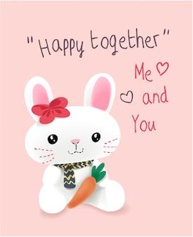Slogan feliz com ilustração de coelho bonito dos desenhos animados