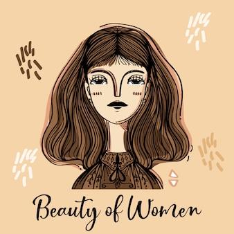 Slogan feminino com a garota para a beleza de rostos de estilo de mulheres