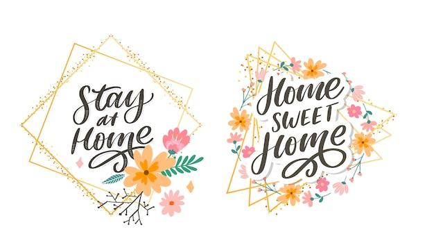Slogan ficar em casa quarentena segura letra pandemia texto palavras caligrafia ilustração