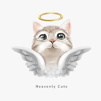 Slogan fofo celestial com um gato anjo fofo com ilustração de halo dourado
