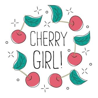 Slogan gráfico de tipografia cereja girl, vetor para impressão de camiseta moderna, patch de bordado para camiseta impressa