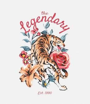 Slogan lendário com tigre em fundo de flores silvestres