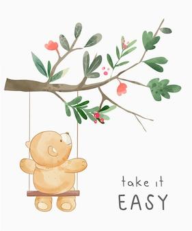 Slogan leve com calma com ilustração de urso fofo no balanço