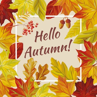 Slogan olá outono folhas rowan bolota