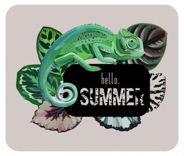 Slogan olá verão com camaleão