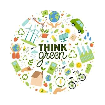 Slogan pense verde com elementos ecológicos em forma de círculo salvar conceito de terra ilustração vetorial plana