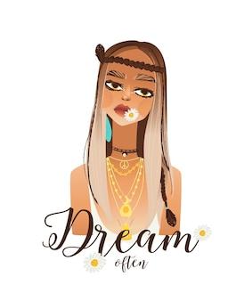 Slogan positivo e desenho bonito de boho girl