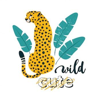 Slogan selvagem. leopardo. impressão gráfica de tipografia, moda, desenho para camisetas.