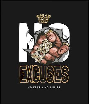 Slogan sem desculpas com a mão em anéis de ouro, apontando a ilustração em fundo preto