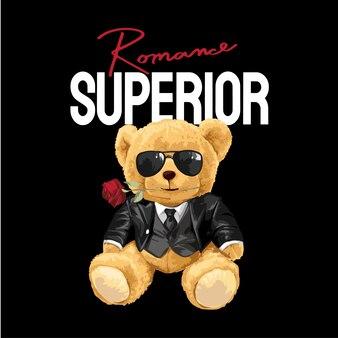 Slogan superior com boneco urso em smoking em fundo preto