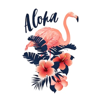 Slogan tropical com ilustração do flamingo e do hibiscus.