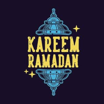 Slogan vintage tipografia kareem ramadan fir t shirt design