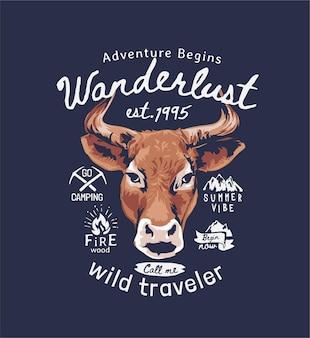Slogan wanderlust com ilustração de cabeça de touro