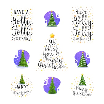 Slogans de ano novo e árvore de natal.