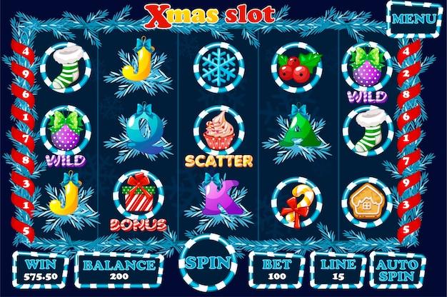 Slot de natal, interface de interface do usuário do jogo e ícones na cor azul. menu completo para jogo de cassino. ícones e botões