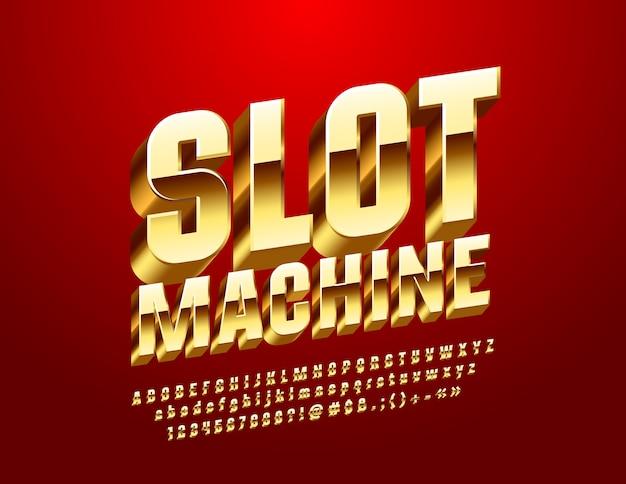 Slot machine casino. fonte 3d dourada. letras, números e símbolos do alfabeto real de luxo