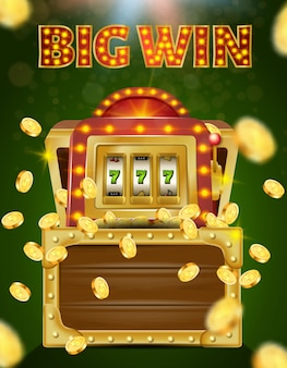 Slot machine com 777 na tela no peito de madeira