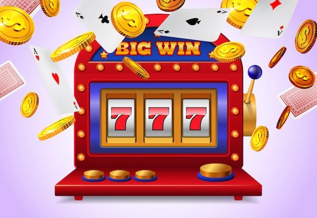 Slot machine com letras grande vitória, cartas de baralho voando e moedas de ouro