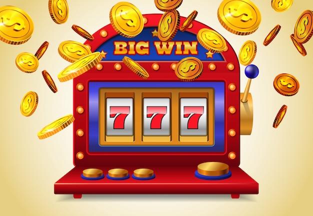 Slot machine com letras grandes da vitória e moedas douradas de voo no fundo amarelo.