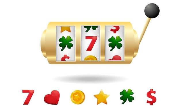 Slot machine do casino com jogo de ícones do entalhe