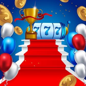 Slot machine sorte sevens jackpot conceito 777