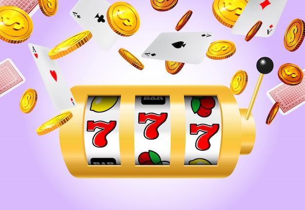 Slot machine, voando moedas de ouro e ases no fundo roxo.