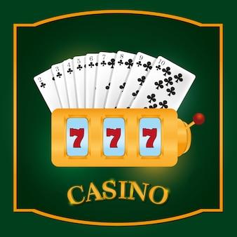 Slots de cassino sevens com cartões de lazer vector design gráfico ilustração