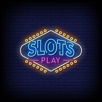 Slots para jogar sinais de néon em vetor de texto