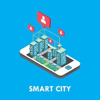 Smart city isométrica vector design de modelo de ilustração Vetor Premium