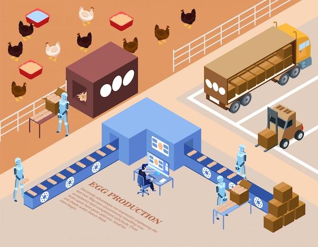 Smart farm egg produção isometric flat.