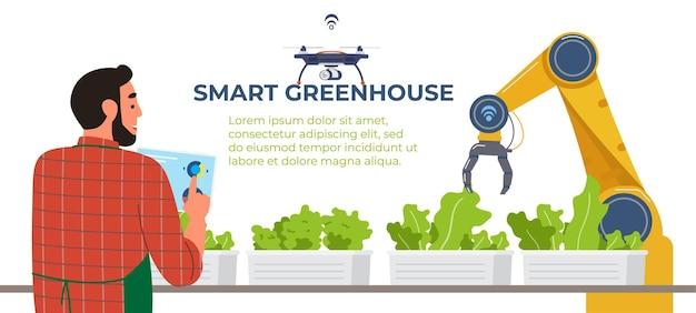 Smart greenhouse banner farmer holds tablet