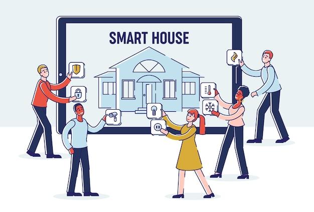 Smart house mobile app as pessoas estão ajustando a tecnologia smart house intelligence